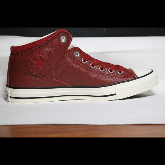 Converse Red Leather All Star Mid High Top NWT